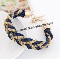 100pcs/lot New 2014 Handmade Wrap Cord bracelets bangles Imitation Mental Chain Strap Cuff Bracelet pulseiras for Women Jewelry