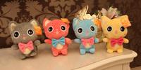 2014 New Arrival! cheap cartoon toys 1pcs 18cm 4 colors cute cat plush toy bow tie cat plush dolls children Gift free shipping
