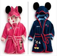 2014 new girl's bath towel minnie mouse sleepwear & robe cartoon children's clothing kids wear