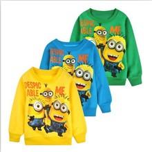 2014 New 1pcs baby boys girl Cartoon design round minion collar fleece children wear t-shirts Children's clothes ATX014(China (Mainland))