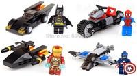 Classic Toys SY181 4Pcs Building Blocks Captain America Spider Man Iron Man Batman With Car Building Block Toys No Original Box