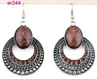 Free P&P new style Tibetan Silver rotundity nice Crystal Earrings er244