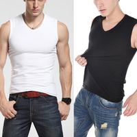 Mens 2014 Bodybuilding Cotton Vest Brand Gym T Shirt summer  Tshirt  Sport Large Size XXL Slim Fitted  V-neck