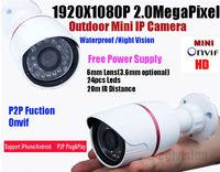 Free shipping 2014 NEW IP camera CCTV  2.0MP HD 1080P IP Network Security CCTV Waterproof  IR Camera IP66 Onvif  Power as a gift
