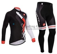 Free shipping! Castelli 2014 #1 Winter thermal fleeced clothes long sleeve cycling jersey pants bike bicycle wear set +gel pad