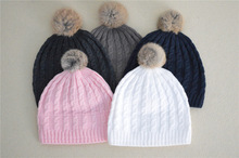 Autumn Winter kids  rabbit ful Cap skullies Hats cotton knitting caps age 3-8 years free shipping 5 color choose(China (Mainland))