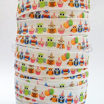 Wholesale/OEM WM ribbon 5/8inch Cartoon Bird Style folded over elastic Webbing Kids Happy Party FOE 50yds/roll free shipping(China (Mainland))