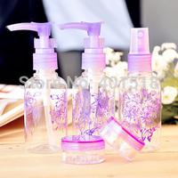Travel Set Refillable Makeup Cosmetics Bottles Jars Vacuum Pump/Sprayer Bottle Mask/Cream Jars Skin Care Tools 5pcs/set