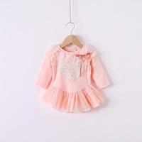 2014 New,baby girls princess dress,children autumn dress,lace,hot drilling,bow,white/pink/yellow,5 pcs / lot,wholesale,1483