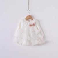 2014 New,baby girls princess dress,children autumn cake dress,long sleeve,beads,bow,4 colors,5 pcs / lot,wholesale,1485