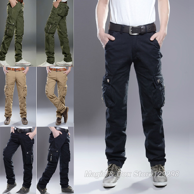 Jeans Men 3 Colors Fashion Mens Jeans High Quality Pants Warfare Combat Cargo Work Pockets Military Trousers Big Size 28 to 38(China (Mainland))