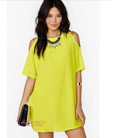 New Fashion 2014 Summer Dresses Girl Hollow Out Sexy Dress Lemon Yellow Women Plus Size Casual Novelty Brand Chiffon Dress