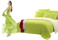 Solid Pattern Bedding Set Duvet Cover Set Cotton Bedsheet Patchwork Bed Sheet 4 Pcs including Duvet Cover +Bed sheet +Pillowcase