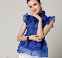 Sweet Small Turn-down Collar Embroidery Organza Petal Sleeve Blouse, Elegant Women's Twinset Organza Shirt Top