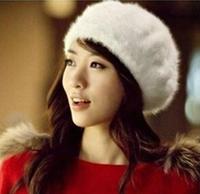 Korean fashion winter warm women cap rabbit fur hat pure angora beret cap tide of street warmth hat