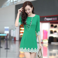 OVO! 2014 new OL han style slim Polyester dress O-neck three quarter sleeve lace dress high quality 5 colors