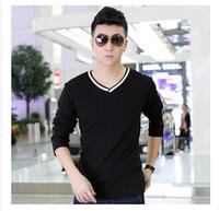 2014 New Men Slim Hit color collar Long-sleeve T-shirt V-neck  Elastic Cotton Men's Clothing Basic Shirt,,M-XXL