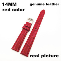 Wholesale 10PCS/lots  High quality 14MM genuine leather Watch band  watch strap red color-070701