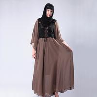 The new spring clothing Lace super big pendulum chiffon dress Seven horn sleeve melting fashionable dress