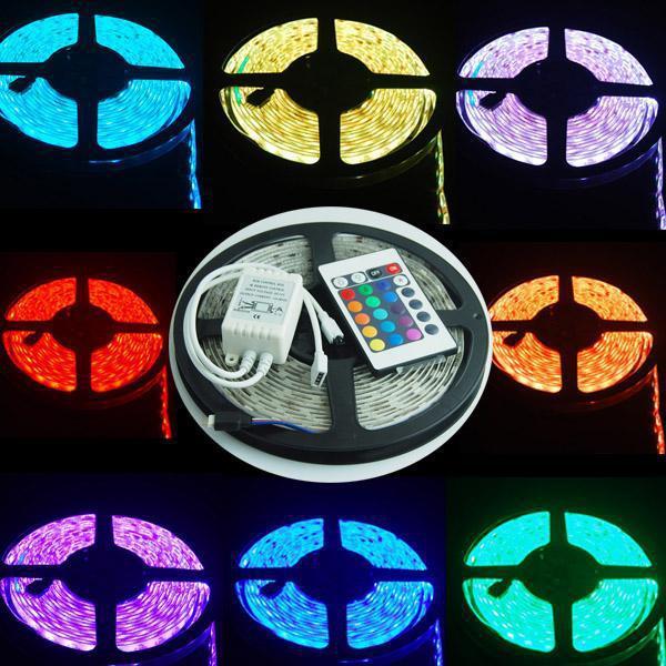 Free shipping 5M/roll 60led/M led strips smd 3528 DC12V safe led bar light plus 24Key IR remote controller(China (Mainland))