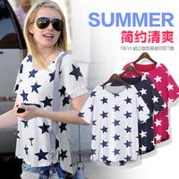 Free Shipping 2014 summer new  star chart women's t-shirt Slim cotton short-sleeved blouses  M / L / XL / XXL