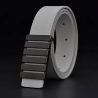 Fashion belt man han edition white belt Male authentic joker belt Fashion smooth buckle recreational belts