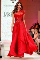 E3313 Fashion one shoulder floor length long red sequin prom dress