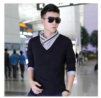 Plus Size XXL 2014 New Autumn Men  Zipper Hit color collar Long-sleeve Polo shirt Fashion Individuality  Men's Clothing Tees