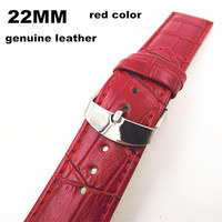 Wholesale - 10PCS/lots High quality 22MM genuine leather Watch band  watch strap red color-070708