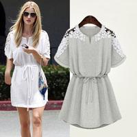 Free Shipping 2014 summer new large size short-sleeved waist women's  dress  small fresh lace crochet dress S-XXXL