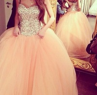 Real Photo Gorgeous Sparkle Fully Rhinestone Bodice Peach Puffy Tulle Prom Dress Debutante Balls Gowns Engagement Dress 2014