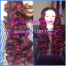 Grade 6A #99j deep curl virgin brazilian human hair burgundy lace front wigswith baby hair can be made bun free shipping(China (Mainland))