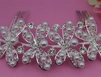 Hot Sell Wedding Bride Hair Comb Clear Rhinestone Crystal Bridal Jewelry Hair Accessories A6