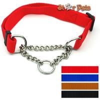 "Nylon Plain Color Dog Pet Choke Chain Training Collar All Colors 16-29"" Adjustable 1.0"" Wide"