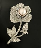 Natural freshwater pearl brooch Pins CZ Rhinestone Rose Flower Fine Elegant jewelry Birthstone Gift