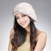 14618 New Knitted Real mink fur hat fur classic beret design winter cap headgear head warmer headdress