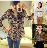 Hot Sale 2014 New Fashion Women Star Print Leopard Print Chiffon Blouse PLUS SIZE free shipping