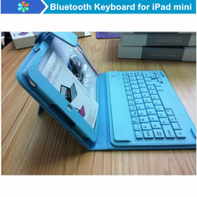 New Arrival Blue PK200 Bluetooth Keyboard with PU Leather Case for iPad Mini Keyboard Cover Case Free Shipping(China (Mainland))