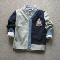 free shipping BT4035 kids  Boys patch stripe grey sweater cardigan