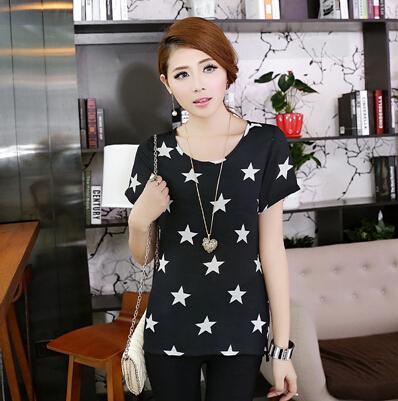 Fashion Summer Star Print Women Black T shirt Plus Size Big Size Female Short Sleeve Blouse Loose Clothing Full Figure 2014 5XL(China (Mainland))
