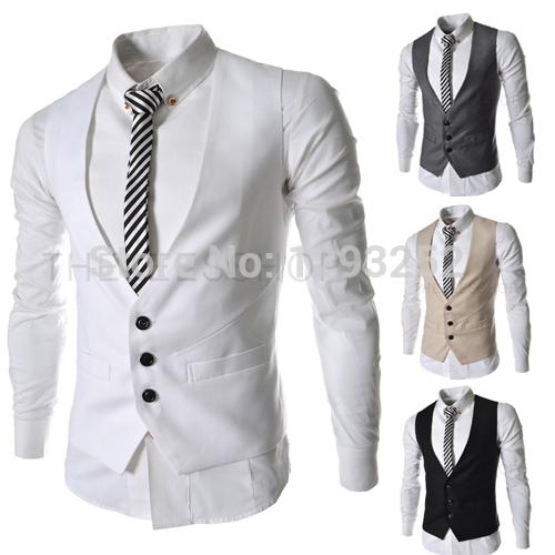 2015 New Arrival! Men's Elegant Suit Vest Slim Dress Vests Men's Fitted Leisure Waistcoat Casual Business Jacket Tops(China (Mainland))