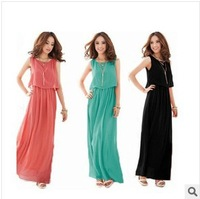 WHOLESALE!!!2014 New Summer Bohemian Women Chiffon Ankle-Length Long Dresses Sleeveless Vest Dress Vestidos free shipping