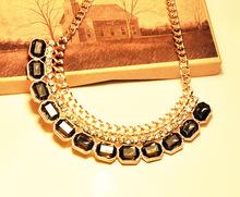 [mix $5]free shipping 2014New Fashion hot !Korean jewelry rainbow Rhinestone Necklace!(China (Mainland))