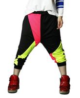 New 2014 Children harem hip hop pants Fashion Boy and girls Child sports pants Punk dance pants Casual neon patchwork hiphop