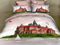 GOOD QUAILTY/Paris Castle sailing boat 3d bed sheet set/cotton bed sheets queen size/duvet cover sets/Paris Scenery/Fujiyama