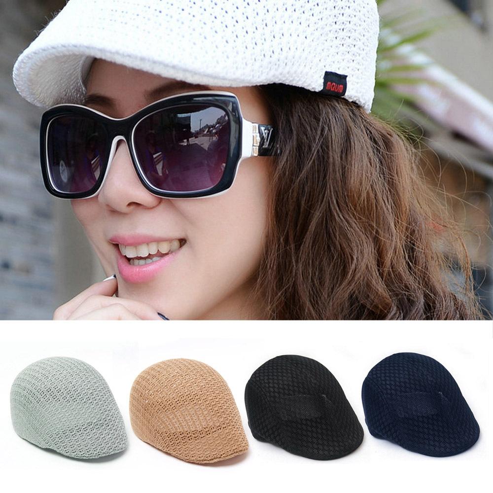 V040 2014 Fashion Womens Summer Peaked Beret Newsboy Visor Hat Cap Cabbie beret Flat net breath Classic Men Vintage Beret Cap(China (Mainland))