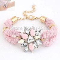 Min Order $20(mixed order)Free shipping Fashion hot-selling crystal flower women metal wool elegant bracelets wristband jewelry