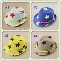 Retail New 2014 Kids Fedora Hat Baby Summer  star pattern sun Hat Baby Straw Jazz Cap Children Sun Cap Baby Top Hat BH-1094