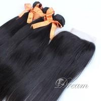 Free Part (4*4 ) Swiss Top Lace Closure Hair Weaves  Peruvian Virgin Human Hair Good Quality 4pcs/lot  UPS / DHL Free Stock