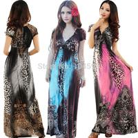 new style Fashion short sleeve Leopard beach women pink dress Free shipping wholesale cheap women summer dress Boho dress MZ01